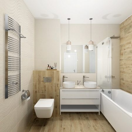 Дизайн интерьера ванной комнаты Paradyz Sunlight и Woodconcept Cersanit